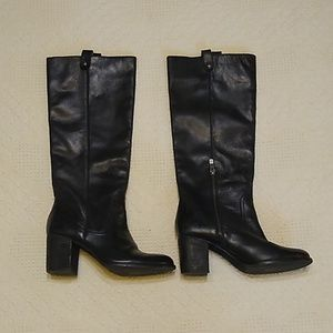 Vince Camuto black leather knee high heel boots